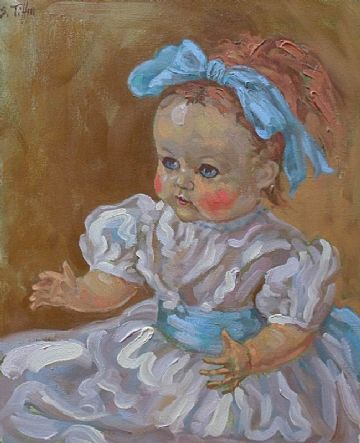 Sheila Tiffin Oil Painting Titled Cutie Eyed Walking Doll